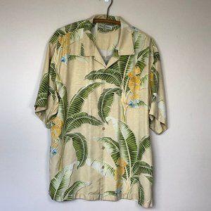 TOMMY BAHAMA Textured Silk Tropical Shirt XL EUC